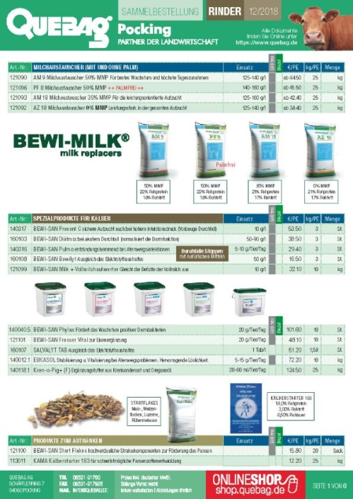 Bestellung Futtermittel Rinder Dezember 2018
